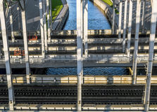 Train  American bridges over Obvodny canal in St. Petersburg Stock Image