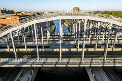 Train  American bridges over Obvodny canal in St. Petersburg. Russia Royalty Free Stock Photos