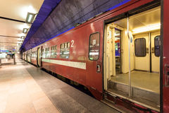 Train at the Antwerp Main Railway Station. ANTWERP, BELGIUM - AUG 23: Train at the Main Railway Station in the city of Antwerp. August 23, 2015 in Antwerp Stock Photos