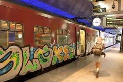 Train at the Antwerp Main Railway Station. ANTWERP, BELGIUM - AUG 23: Train with graffiti at the Main Railway Station in the city of Antwerp. August 23, 2015 in Royalty Free Stock Photography