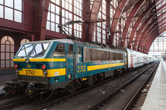 Train at the Antwerp Railway Station. ANTWERP, BELGIUM - AUG 23: Engine with wagons at the Main Railway Station in the city of Antwerp. August 23, 2015 in Royalty Free Stock Photo