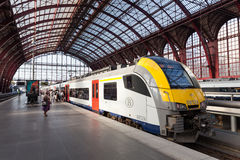 Train at the Antwerp Railway Station Royalty Free Stock Photos