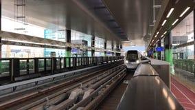 Train approaching Mutiara Damansara Station stock video