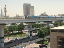 Train approaching Oud Metha Metro Station in Dubai Stock Photos