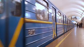 Train approaching platform in Kiev stock video footage