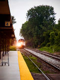 Train approaching station Royalty Free Stock Photography
