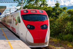 A train approaching the station Royalty Free Stock Photo