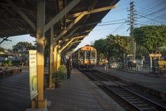 Train ariving tostation at Nakhon Lampang Railway Station in Nakhon Lampang, Thailand. Nakhon Lampang, Thailand - November, 13, 2016 : Train ariving tostation Stock Photography