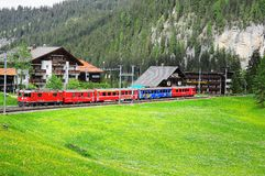 Train from Arosa moves to Chur Stock Photography
