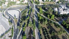 Train Arrival Aerial footage. Train arrival at Eirini station in Athens Greece stock footage