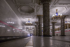 Train arrival on Avtovo metro station in Saint Petersburg. A moment of train arrival on the Avtovo metro station in Saint Petersburg Stock Photo