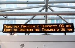 Train Arrival Board in Venice Stock Photo