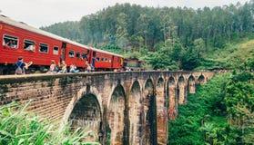 Train arrival moment on famous Nine Arch Bridge