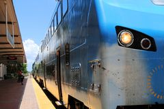 Train arrival in station, Florida, perspective view Royalty Free Stock Image