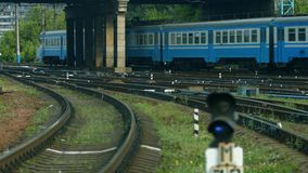 Train arrives at the central station. Many wagons of the train stock video footage
