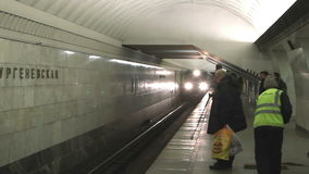 Train arrives at the Moscow metro station stock footage