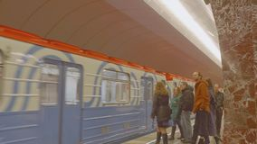 MOSCOW - CIRCA APRIL, 2018: Train arrives in new metro station. Train arrives in new metro station in moscow stock footage
