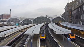 Train arrives at Paddington station in London stock video footage