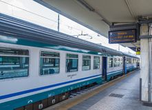 Train arrives at Pisa Central Station - Trenitalia - PISA ITALY - SEPTEMBER 13, 2017 Royalty Free Stock Photography
