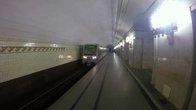 The train arrives at the station of the Moscow subway stock footage