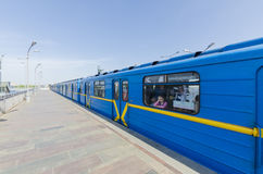 The train arrives at a subway station in the subway in Kiev Royalty Free Stock Photos
