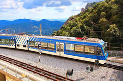 Train arrives to famous Montserrat monastery Royalty Free Stock Photo