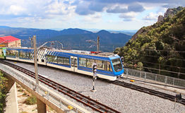Train arrives to famous Montserrat monastery in Spain Royalty Free Stock Photos
