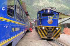 Train arrives to Machu Picchu pueblo station. Stock Images