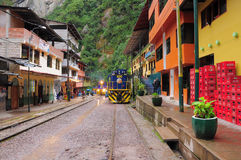 Train arrives to Machu Picchu pueblo station. Stock Photo