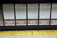 Train arrives in the underground station, New York Stock Photo