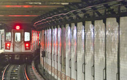 Train arrives in the underground station, New York. Train arrives in the underground station in New York Stock Image