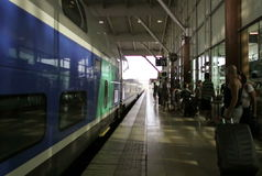 Train arriving in Aix-en-Provence TGV train station, France stock video footage