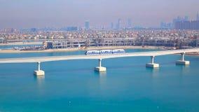 Train arriving at Atlantis Monorail station in Dubai 2018 stock image