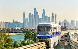 Train arriving at Atlantis Monorail station Stock Photography