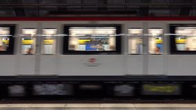 Train arriving at Barcelona Metro underground station. Barcelona / Spain stock footage