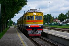 Train arriving at Cesis Railway Station. Cesis, Latvia. August 24, 2017. Train arriving at Cesis Railway Station Royalty Free Stock Photo