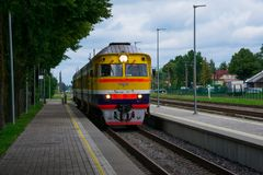 Train arriving at Cesis Railway Station. Cesis, Latvia. August 24, 2017. Train arriving at Cesis Railway Station Stock Photos