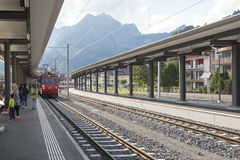 Train arriving in Engelberg train station, Switzerland Royalty Free Stock Image