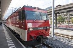 Train arriving in Engelberg train station, Switzerland Stock Images