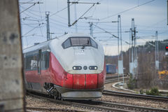 Train arriving Halden train station Royalty Free Stock Photography
