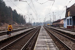 Train is arriving into the railway station of Ruzomberok, Slovak Stock Photography