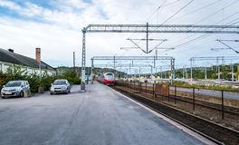 Train arriving the station. A NSB train arriving at Halden railway station from Oslo Norway Stock Image