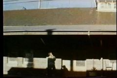 Train arriving in  station stock video