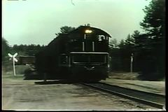 Train arriving in station stock footage