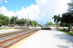Train arriving into station in Florida Stock Photos