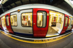 Train arriving at subway station in London, UK Stock Photos