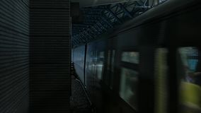 Train arriving in subway. Train arriving in Hong Kong subway stock video footage
