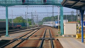 Train arriving to station stock footage