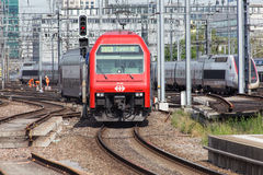 Train arriving to the Zurich main railway station Royalty Free Stock Images