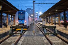 Free Train At Brno Train Station In The Evening Royalty Free Stock Image - 181702996